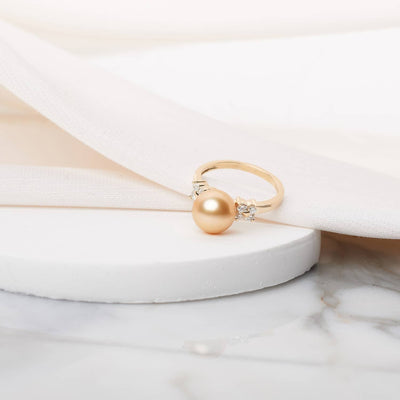 """Royal Flower"" Golden South Sea Pearl Ring: 9.0-10.0mm"
