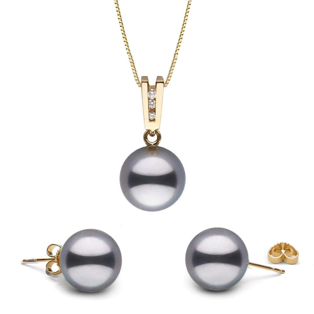 """Echelle"" Diamond Tahitian Pearl Pendant and Stud Earring Set"