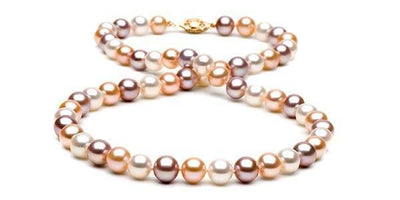 Multi-Color Freshwater Pearl Necklace: 7.5-8.0mm