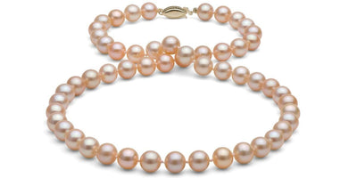 Peach/Pink Gem Grade Freshwater Pearl Necklace: 7.5-8.0mm