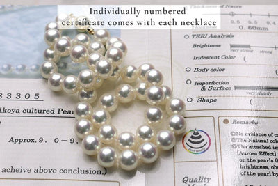 "18"" Natural White Hanadama Akoya Pearl Necklace: 9.0-9.5mm *** 1 in stock"
