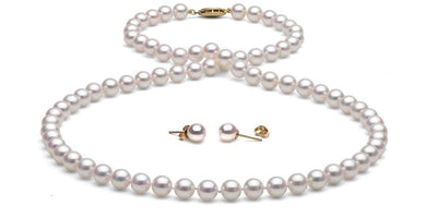 Akoya Pearl Necklace and Earrings: 6.5-7.0mm