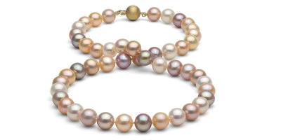 Multi-Color Gem Grade Freshwater Pearl Necklace: 8.5-9.0mm