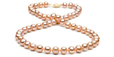 Pink/Peach Freshwater Pearl Necklace: 7.5-8.0mm