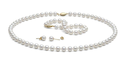 White Gem Grade Freshwater Pearl Jewelry Set: 6.5-7.0mm