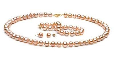 Pink/Peach Freshwater Pearl Jewelry Set: 7.5-8.0mm