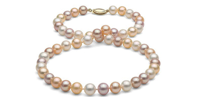 Multi-Color Gem Grade Freshwater Pearl Necklace: 7.5-8.0mm