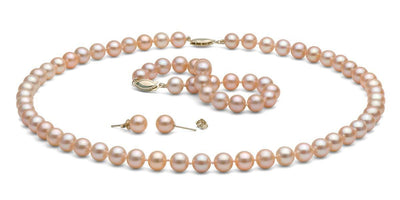 Peach/Pink Gem Grade Freshwater Pearl Jewelry Set: 7.5-8.0mm