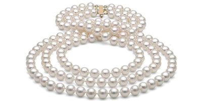 Triple Strand Freshwater Pearl Necklace: 7.5-8.0mm