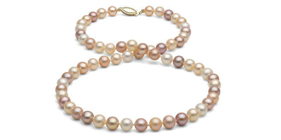 Multi-Color Gem Grade Freshwater Pearl Necklace: 6.5-7.0mm