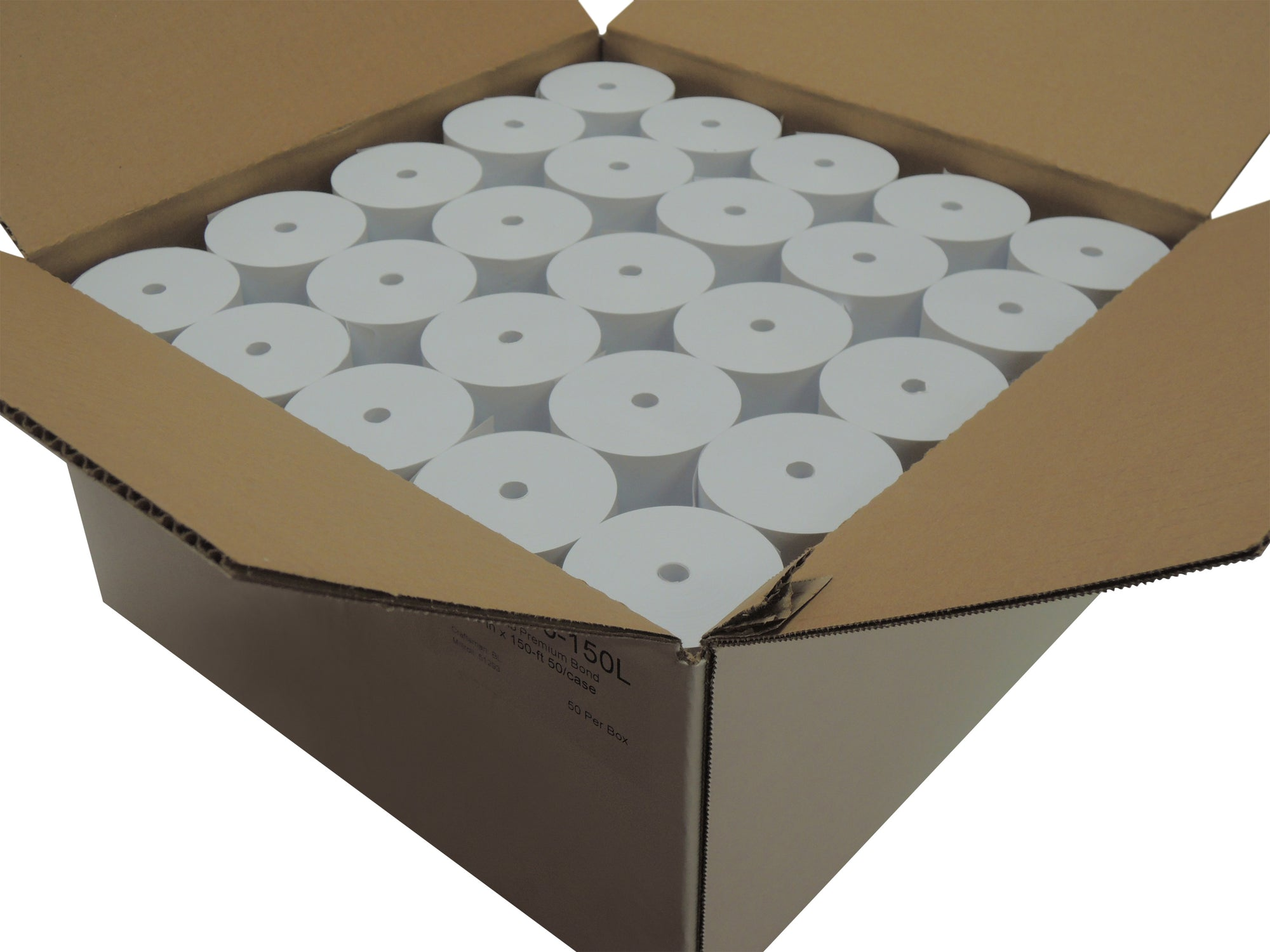 1 Ply Bond 1 3/4 (44mm) x 150 ft CORELESS Bright White 50 rolls