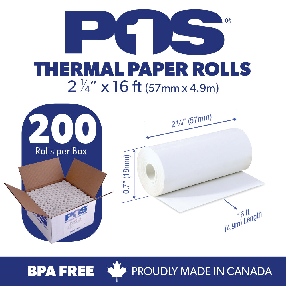POS1 Thermal Paper 2 1/4 x 16 ft x 18mm CORELESS BPA Free fits Pidion BIP-1500 and Poynt 200 rolls