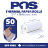 POS1 Thermal Paper 2 1/4 x 16 ft x 18mm CORELESS BPA Free fits Pidion BIP-1500 and Poynt 50 rolls