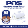 POS1 Thermal Paper 2 1/4 x 30 ft x 25mm CORELESS BPA Free 98 rolls