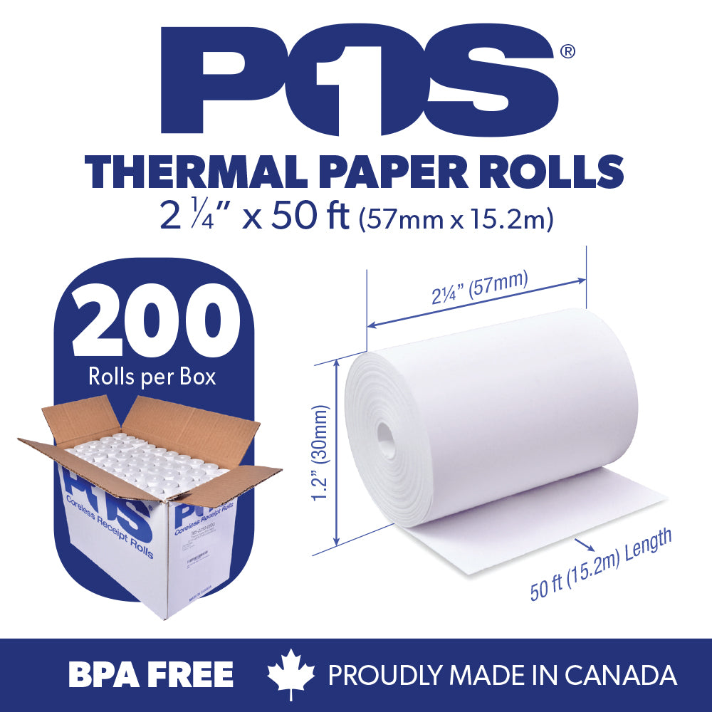 POS1 Thermal Paper 2 1/4 x 50 ft x 30mm CORELESS BPA Free 200 rolls