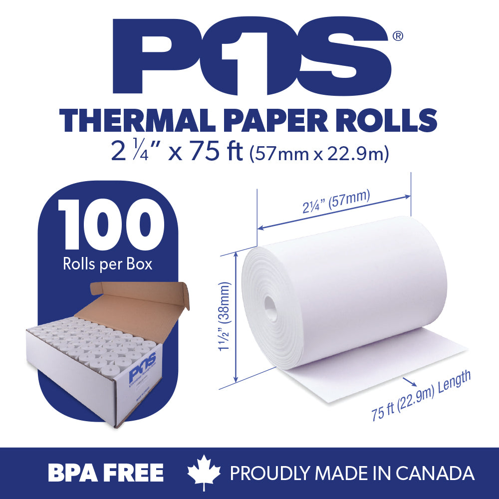 POS1 Thermal Paper 2 1/4 x 75 ft x 38mm CORELESS BPA Free 100 rolls
