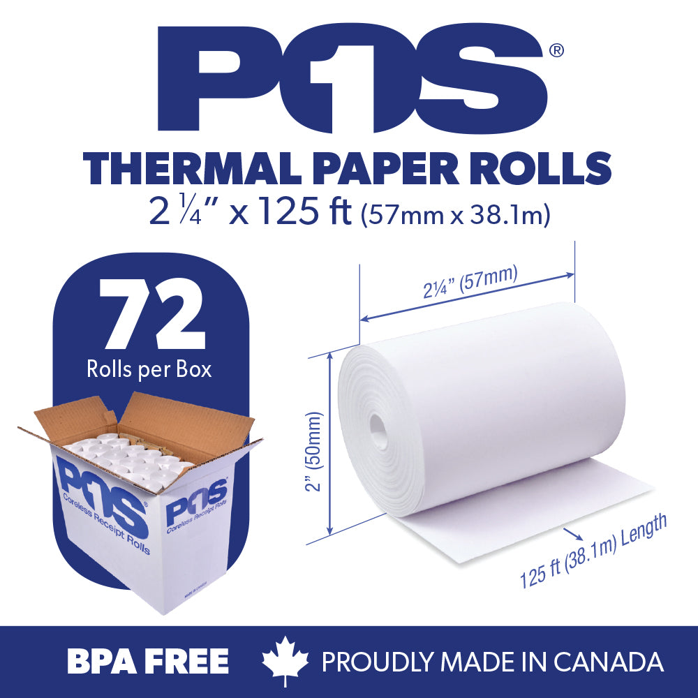 POS1 Thermal Paper 2 1/4 x 125 ft x 50mm CORELESS BPA Free 72 rolls