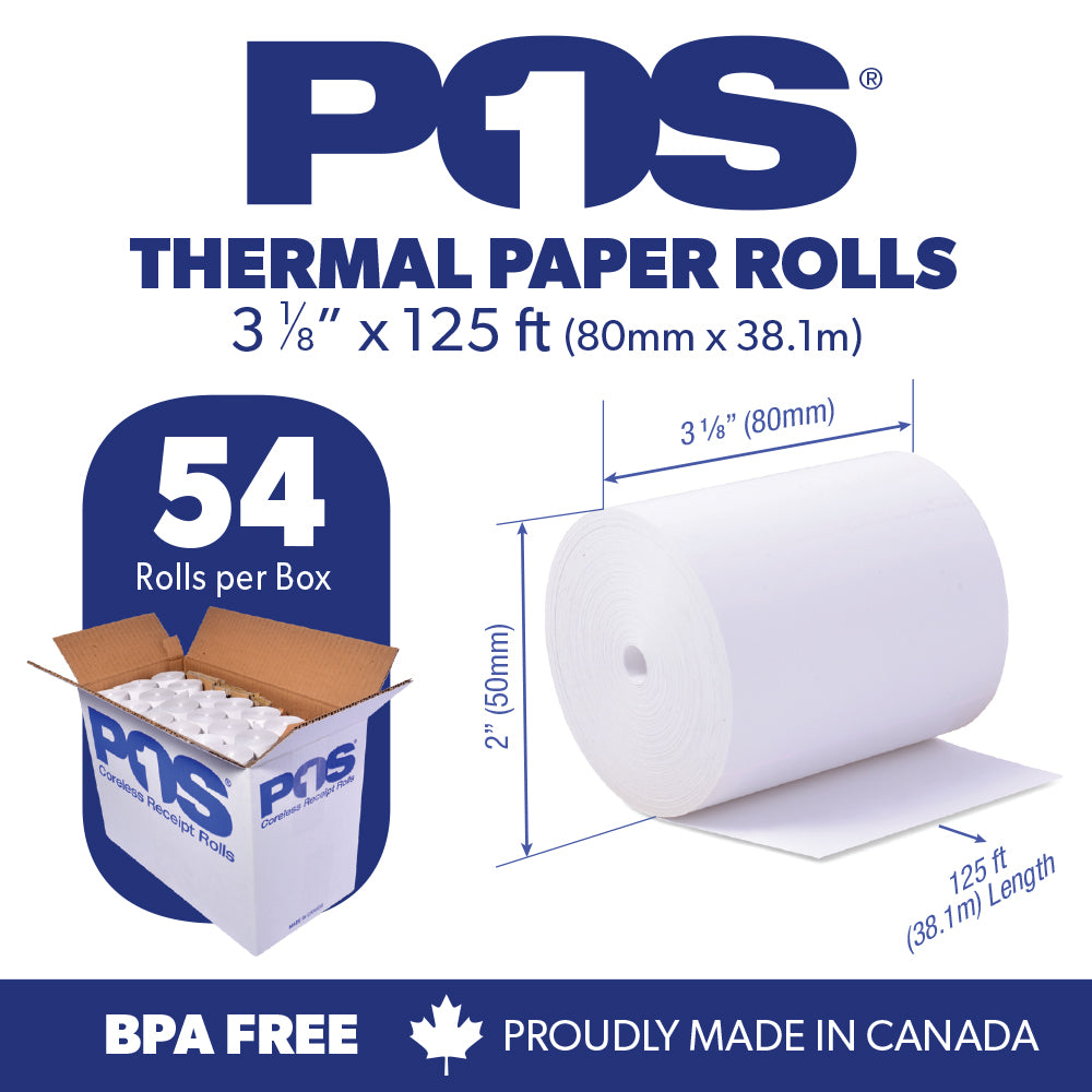 POS1 Thermal Paper 3 1/8 x 125 ft x 50mm CORELESS BPA Free 54 rolls