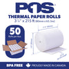 Thermal Paper 3 1/8 x 215 ft x 65mm CORELESS BPA Free 50 rolls