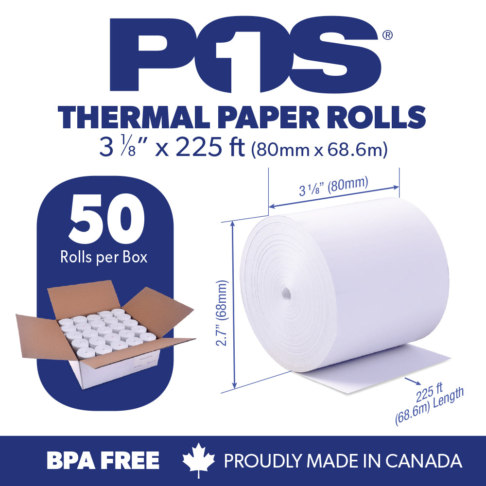 POS1 Thermal Paper 3 1/8 x 225 ft x 68mm CORELESS BPA Free 50 rolls