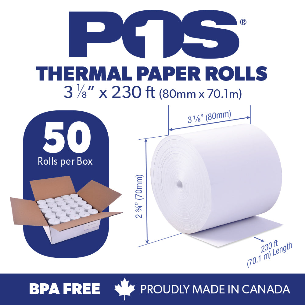POS1 Thermal Paper Roll 3 1/8 x 230 ft x 70mm CORELESS BPA Free 50 rolls