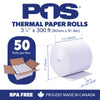 POS1 Thermal Paper 3 1/8 x 300 ft x 80mm CORELESS BPA Free 50 rolls