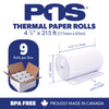POS1 Thermal Paper 4 3/8 x 215 ft x 65mm CORELESS BPA Free 9 rolls