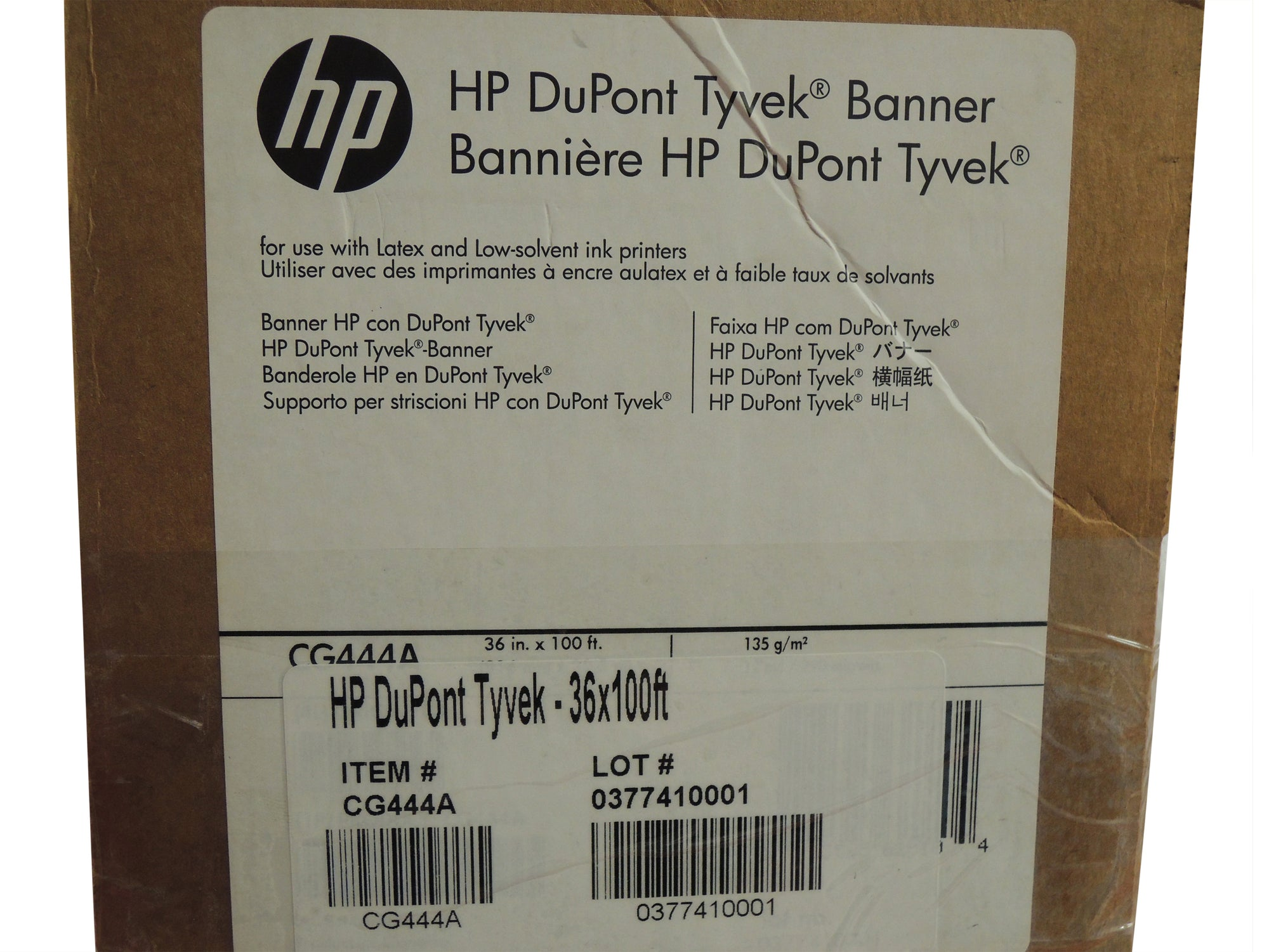 "HP CG444A Dupont Tyvek 36 inch x 100 feet, 3"" core, Latex compatible"