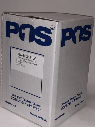 POS1 Thermal Paper Roll 3 x 110 ft x 47mm CORELESS BPA Free fits Zebra iMZ320