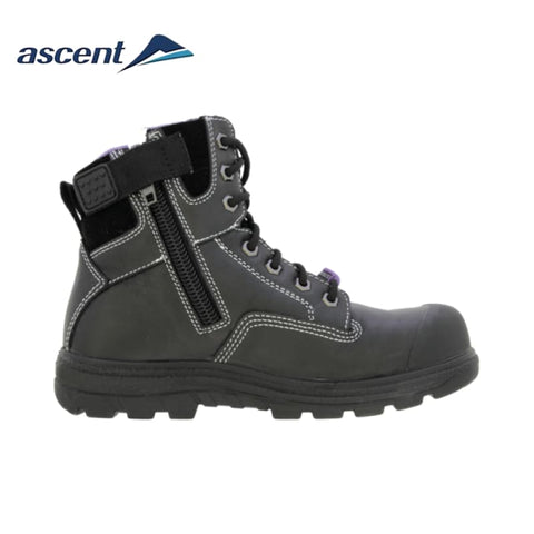 Ascent Ladies Safety Boot Alpha 2 Scuff Cap Zip Black Workwear