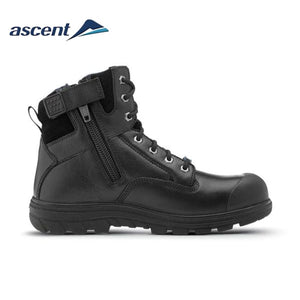 Ascent Safety Boot Alpha 2 Scuff Cap Zip Black Workwear
