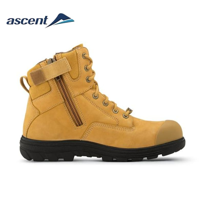 Ascent Safety Boot Alpha 2 Scuff Cap Zip Wheat Workwear