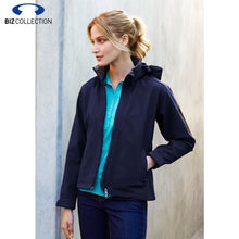 Load image into Gallery viewer, Biz Tech Ladies Summit Jacket Zip Hood Navy/graphite Workwear
