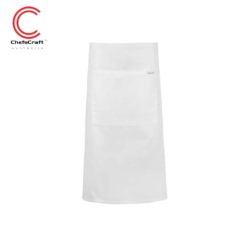 Chefscraft 3/4 Length Apron With Pocket White Workwear