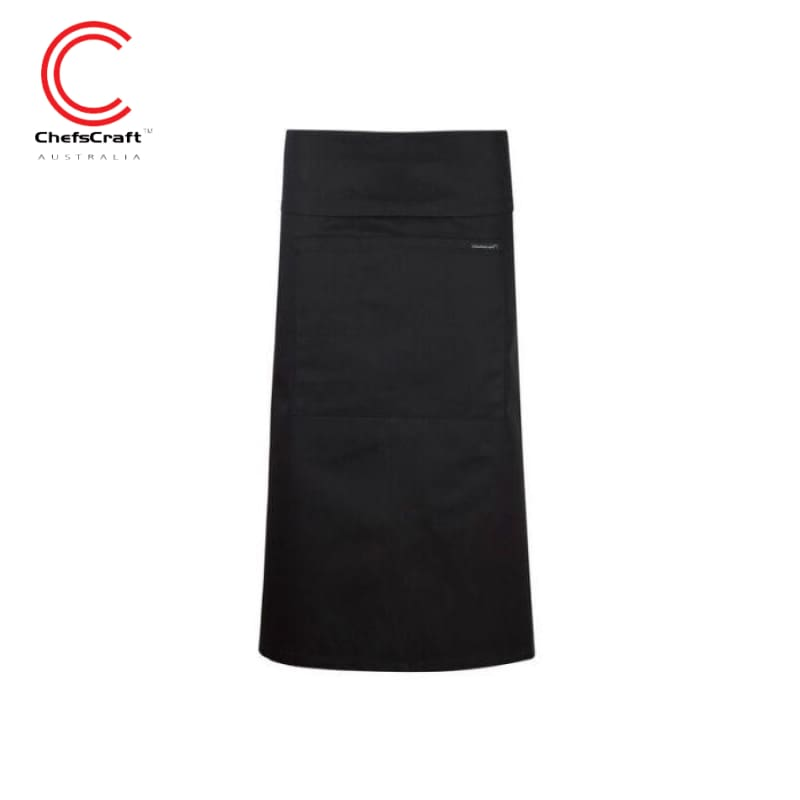 Chefscraft 3/4 Length Fold Over With Pocket Black Workwear