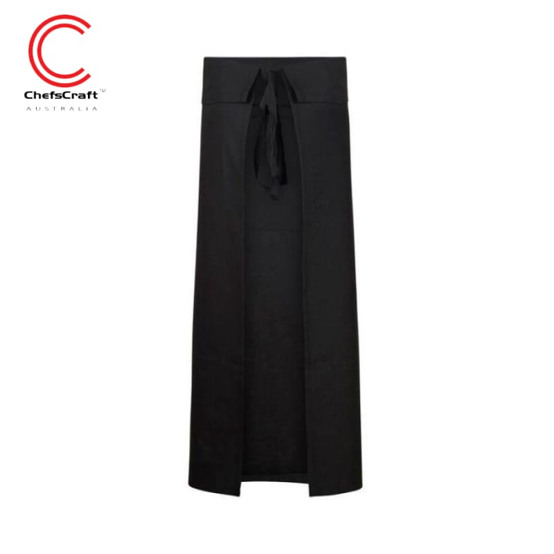 Chefscraft Continental Apron With Pocket Fold Over Black Workwear