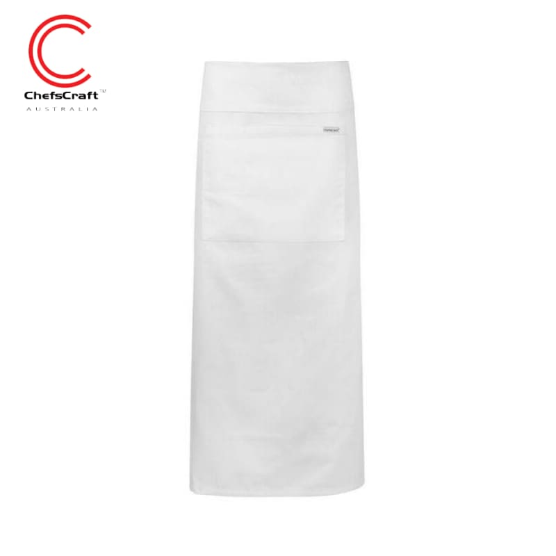 Chefscraft Continental Apron With Pocket Fold Over White Workwear