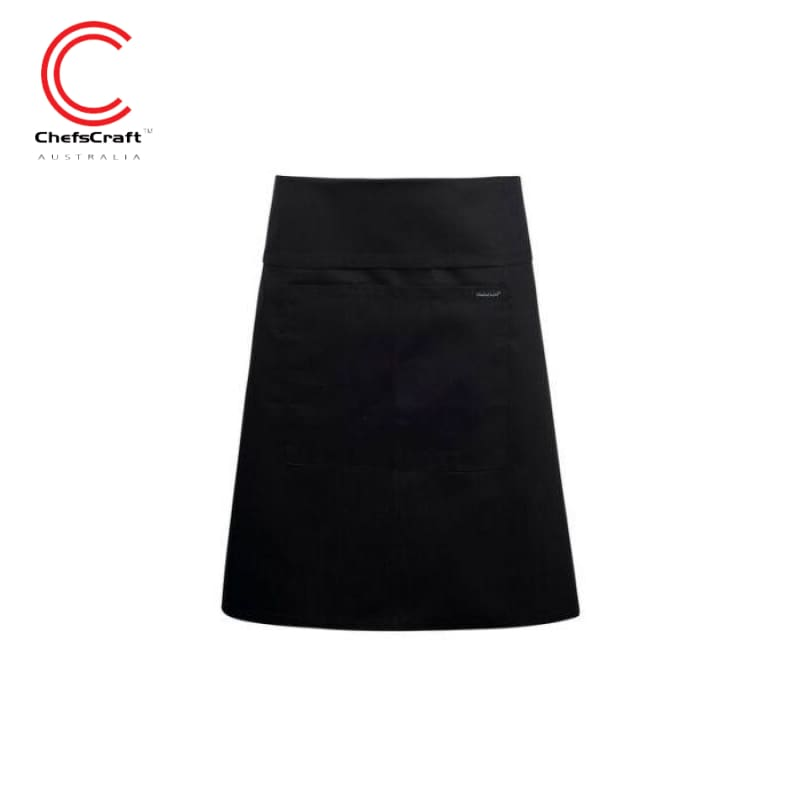 Chefscraft Half Apron Fold Over With Pocket Black Workwear