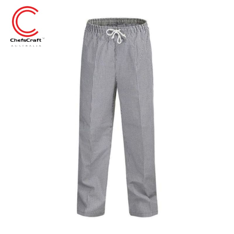Chefscraft Pants Unisex Drawstring Black/white Check Workwear