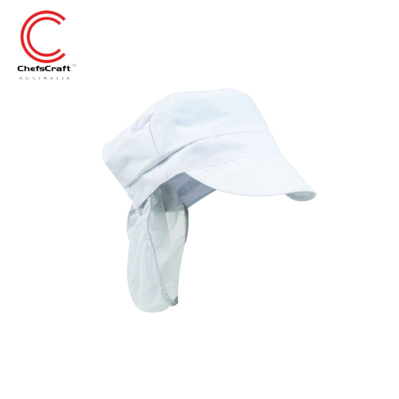 Chefscraft Peak Cap Food Industry With Hair Net White Workwear