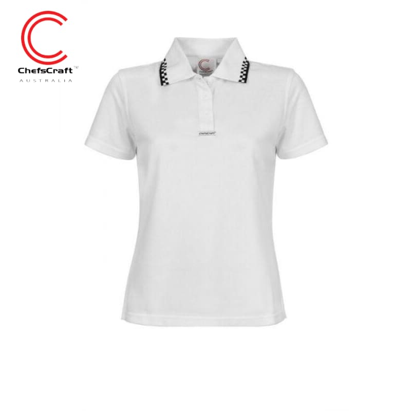 Chefscraft Polo S/sleeve Ladies Hospitality White Workwear