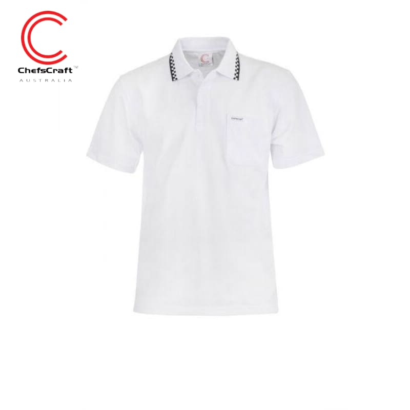 Chefscraft Polo S/sleeve Mens Hospitality White Workwear