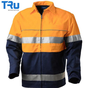 Cotton Canvas Drill Jacket With 3M Tape Xs / Beyond Blue Orange Workwear