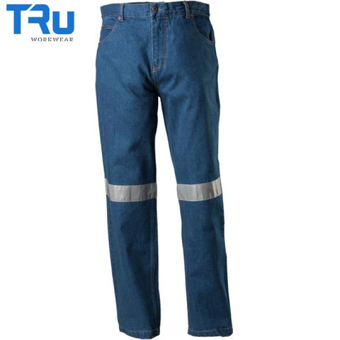 Denim Jeans With Tape Workwear