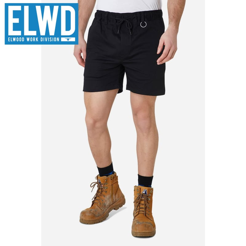 Elwd Workwear - Elastic Basic Shorts Cotton/poly Black