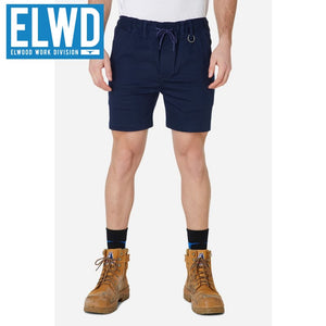 Elwd Workwear - Elastic Basic Shorts Cotton/poly Navy