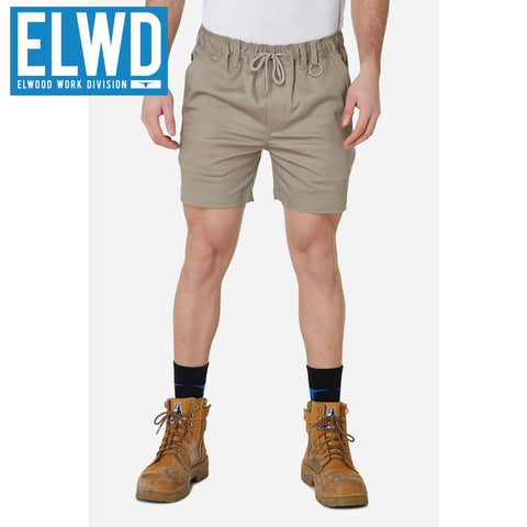 Elwd Workwear - Elastic Basic Shorts Cotton/poly Stone