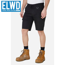Load image into Gallery viewer, Elwd Workwear - Elastic Utility Shorts Cotton Canvas Black
