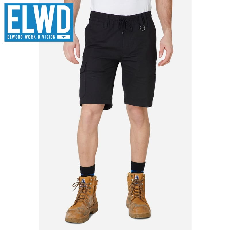 Elwd Workwear - Elastic Utility Shorts Cotton Canvas Black