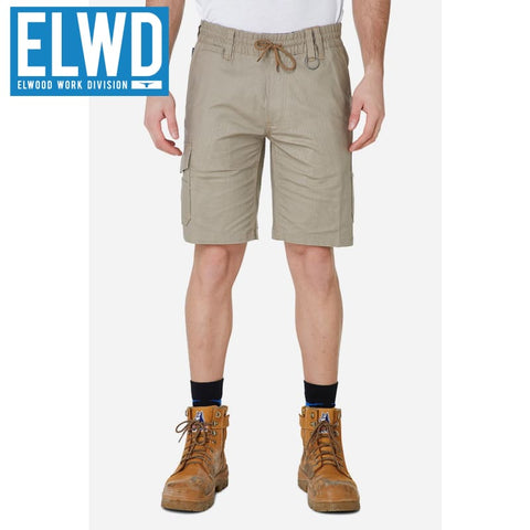 Elwd Workwear - Elastic Utility Shorts Cotton Canvas Stone